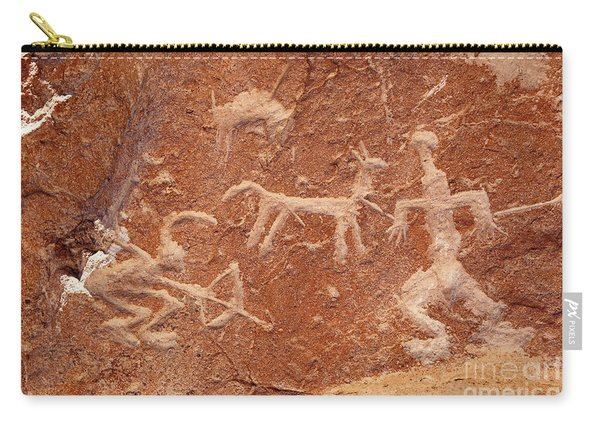 Hunter With Bow And Arrow Petroglyph Ofragia Chile Carry-all Pouch