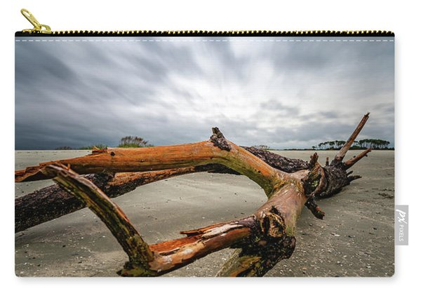 Hurricane Florence Beach Log - Portrait Carry-all Pouch