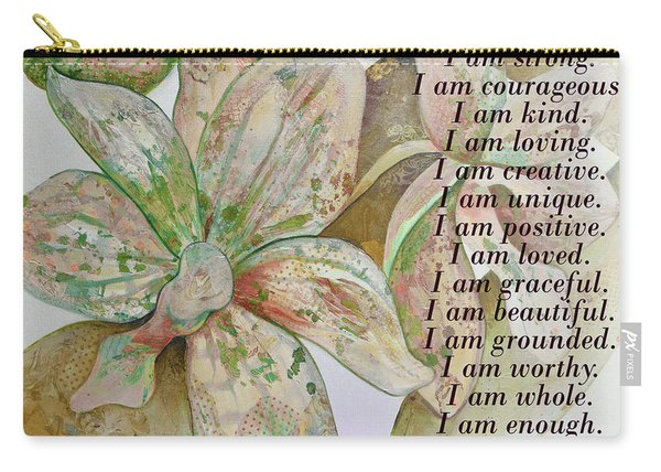 I Am...positive Affirmation In Coral And Green Carry-all Pouch