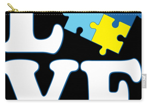 Carry-all Pouch featuring the digital art I Love Autism by Flippin Sweet Gear