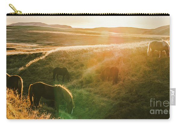 Icelandic Landscapes, Sunset In A Meadow With Horses Grazing  Ba Carry-all Pouch
