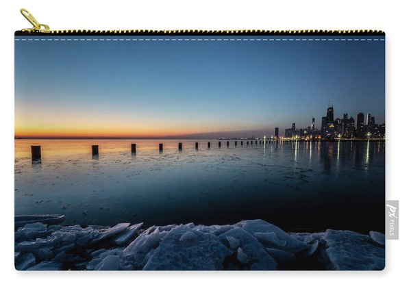 Icy Chicago Skyline At Dawn  Carry-all Pouch