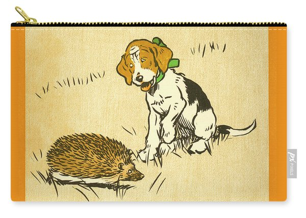 Puppy And Hedgehog, Illustration Of Carry-all Pouch