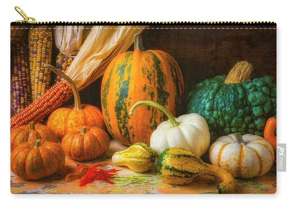 Indian Corn, Pumpkins And Gourds Carry-all Pouch