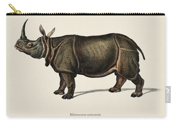 Indian Rhinoceros  Rhinoceros Unicornis Illustrated By Charles Dessalines D' Orbigny  1806-1876  Carry-all Pouch