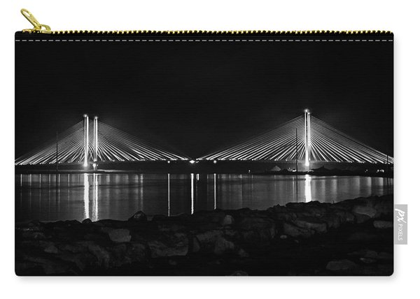 Indian River Bridge After Dark In Black And White Carry-all Pouch