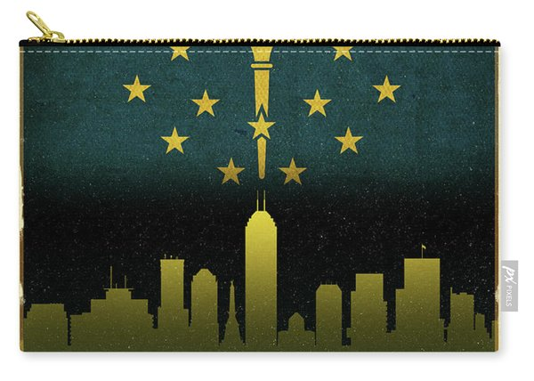 Indianapolis City Skyline State Flag Of Indiana Carry-all Pouch