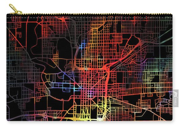 Indianapolis Indiana Watercolor City Street Map Dark Mode Carry-all Pouch