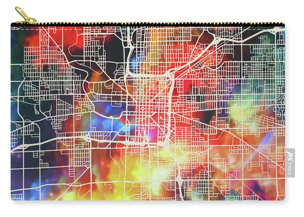 Indianapolis Indiana Watercolor City Street Map Carry-all Pouch