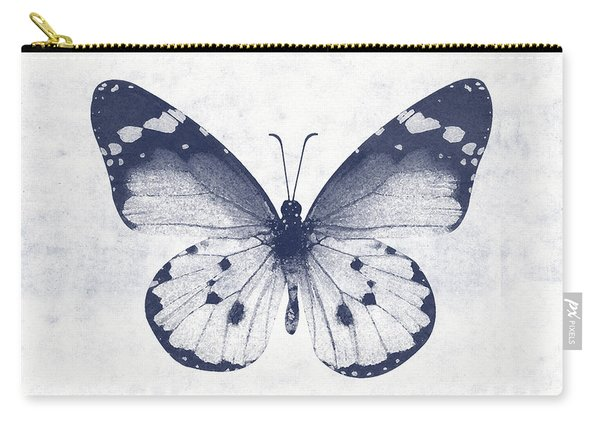 Indigo And White Butterfly 1- Art By Linda Woods Carry-all Pouch