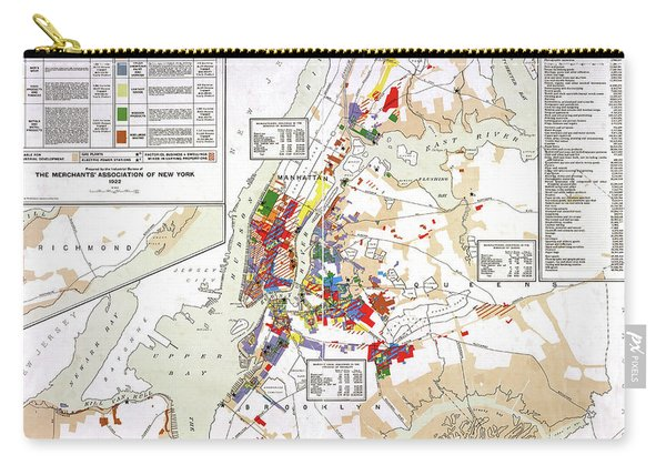 Industrial Map Of New York City, 1922 Carry-all Pouch