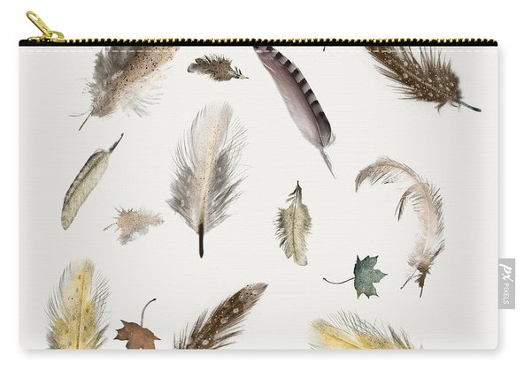 Inner Nature Feathers And Leaves Carry-all Pouch