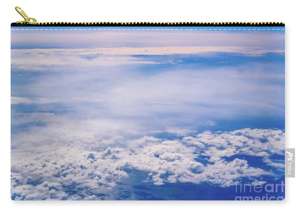 Intense Blue Sky With White Clouds And Plane Crossing It, Seen From Above In Another Plane. Carry-all Pouch