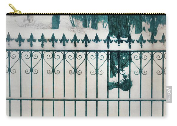 Iron Fence And Woods In Winter Carry-all Pouch