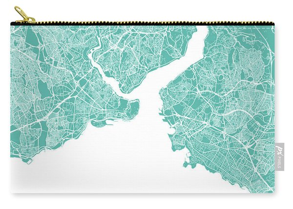 Istanbul Map Teal Carry-all Pouch