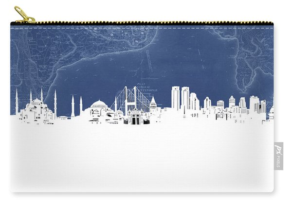 Istanbul Skyline Map Blue Carry-all Pouch