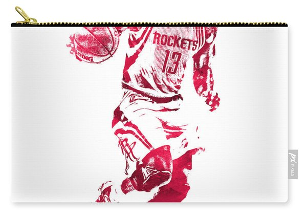 James Harden Houston Rockets Water Color Pixel Art 3 Carry-all Pouch