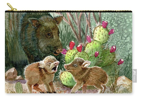 Javelina Babies And Mom Carry-all Pouch