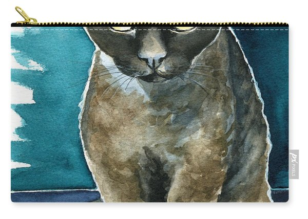 Joey - Devon Rex Cat Painting Carry-all Pouch