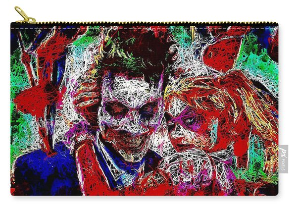 Carry-all Pouch featuring the mixed media Joker And Harley Quinn 2 by Al Matra