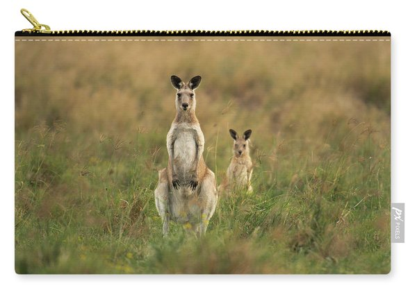 Carry-all Pouch featuring the photograph Kangaroos In The Countryside by Rob D Imagery