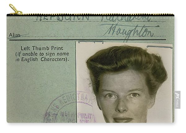 Katherine Hepburn's U. K. Alien Registration Certificate 1951 Carry-all Pouch