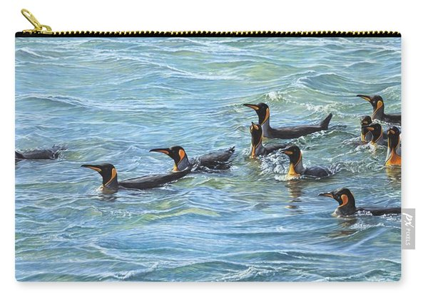 Carry-all Pouch featuring the painting King Penguins Swimming by Alan M Hunt