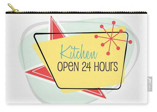 Kitchen Open 24 Hours- Art By Linda Woods Carry-all Pouch