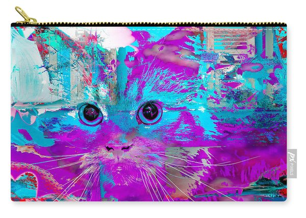 Carry-all Pouch featuring the digital art Kitty Collage Blue by Don Northup
