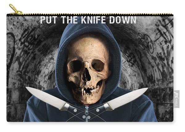 Carry-all Pouch featuring the digital art Knife Crime Part 2 - The Next Victim by ISAW Company
