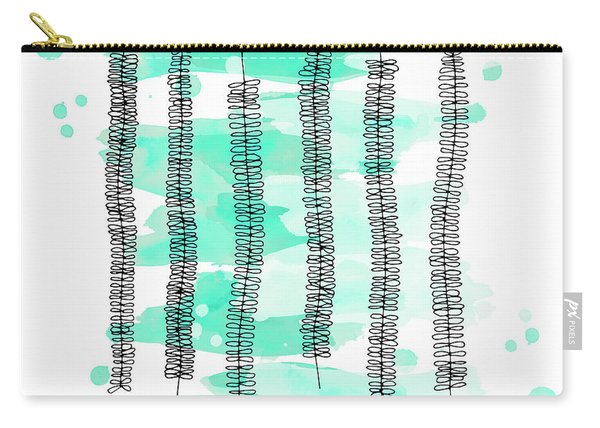 Kowhai Branches In Mint Green Watercolor Carry-all Pouch