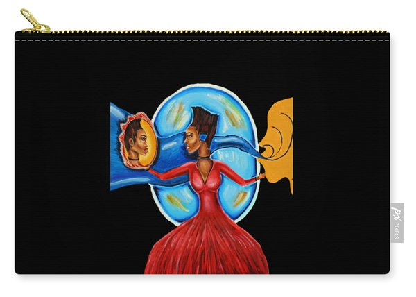 African Goddess Lady In Red Afrocentric Art Mother Earth Black Woman Art Carry-all Pouch
