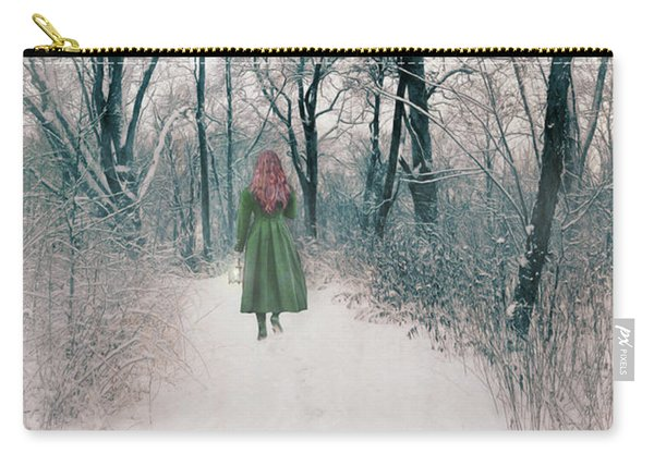 Lady In The Snowy Woods Carry-all Pouch