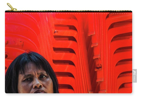 Lady With Red Chairs Carry-all Pouch