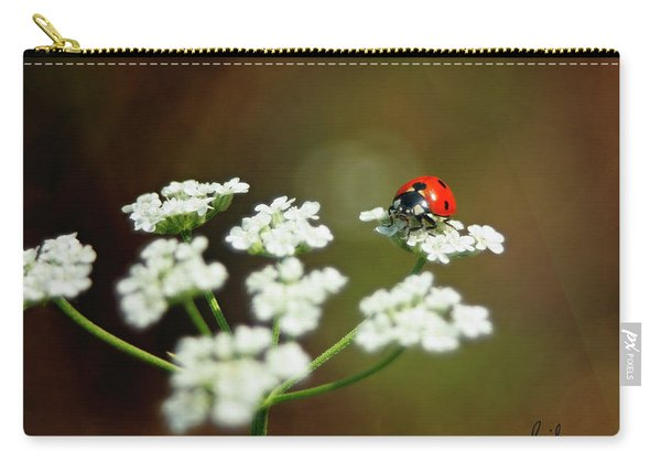 Ladybug In White Carry-all Pouch
