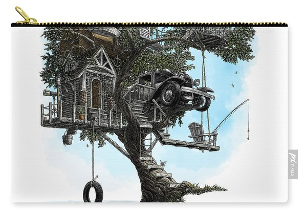 Carry-all Pouch featuring the drawing Lake Front Dream House by Clint Hansen