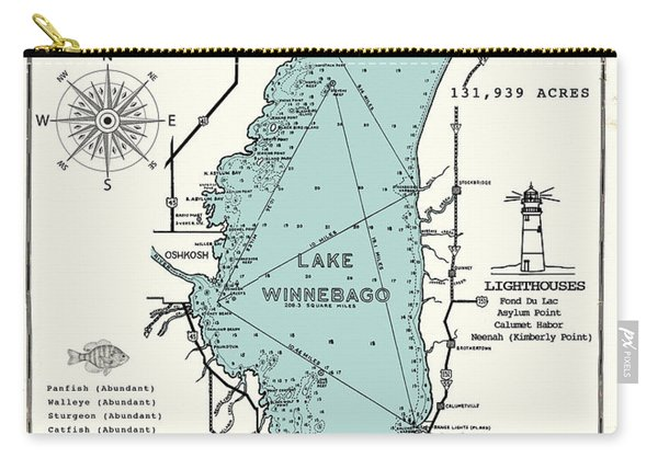 Lake Winnebago Wisconsin Map  Carry-all Pouch