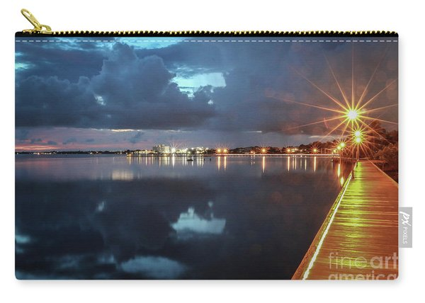 Carry-all Pouch featuring the photograph Lamp Post Starbursts by Tom Claud