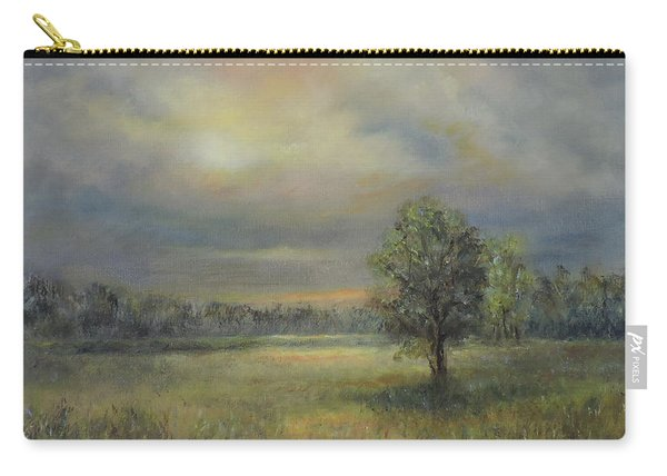 Landscape Of A Meadow With Sun And Trees Carry-all Pouch