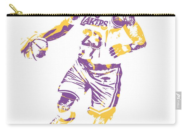 Lebron James Los Angeles Lakers Pixel Art 3 Carry-all Pouch