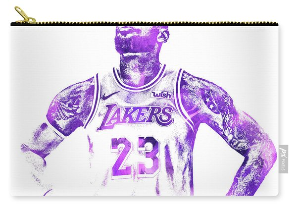 Lebron James Los Angeles Lakers Water Color Pixel Art 30 Carry-all Pouch
