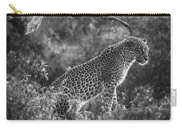 Leopard Sitting Black And White Carry-all Pouch
