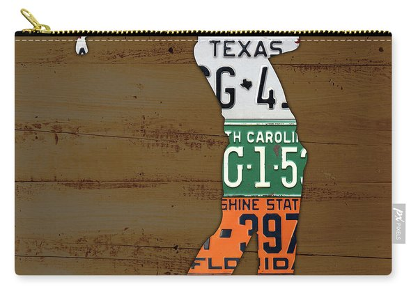 License Plate Golfer Art Custom Carry-all Pouch