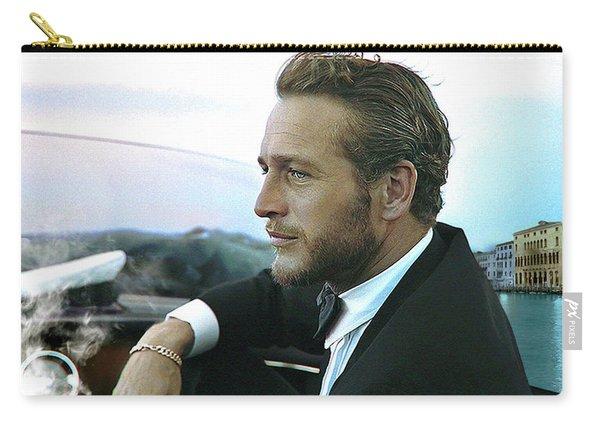 Life Is A Journey, Paul Newman, Movie Star, Cruising Venice, Enjoying A Cuban Cigar Carry-all Pouch