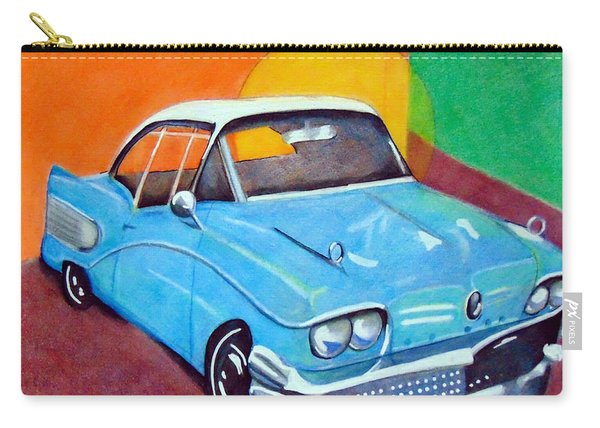 Carry-all Pouch featuring the drawing Light Blue 1950s Car  by Loretta Nash