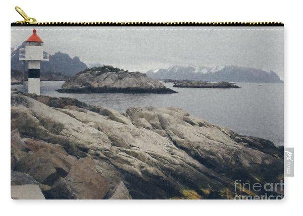Lighthouse On Rocks Near The Atlantic Coast, Digital Art Oil Pai Carry-all Pouch