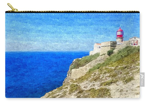Lighthouse On Top Of A Cliff Overlooking The Blue Ocean On A Sunny Day, Painted In Oil On Canvas. Carry-all Pouch