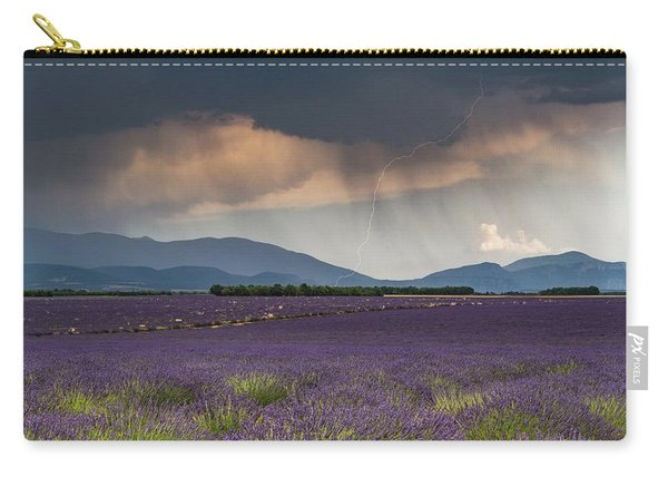 Lightning Over Lavender Field Carry-all Pouch