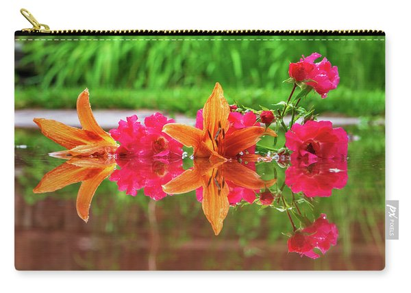 Lilies And Roses Reflection Carry-all Pouch