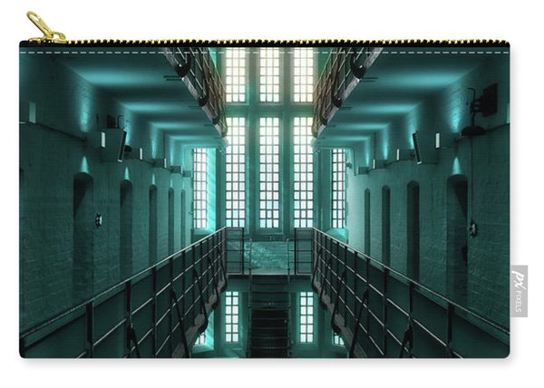 Carry-all Pouch featuring the digital art Lincoln Castle Prison In Blue by Scott Lyons